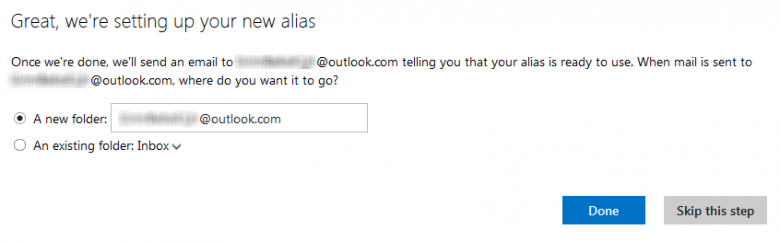 outlook - alias - done