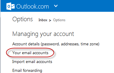 outlook - managing email accounts