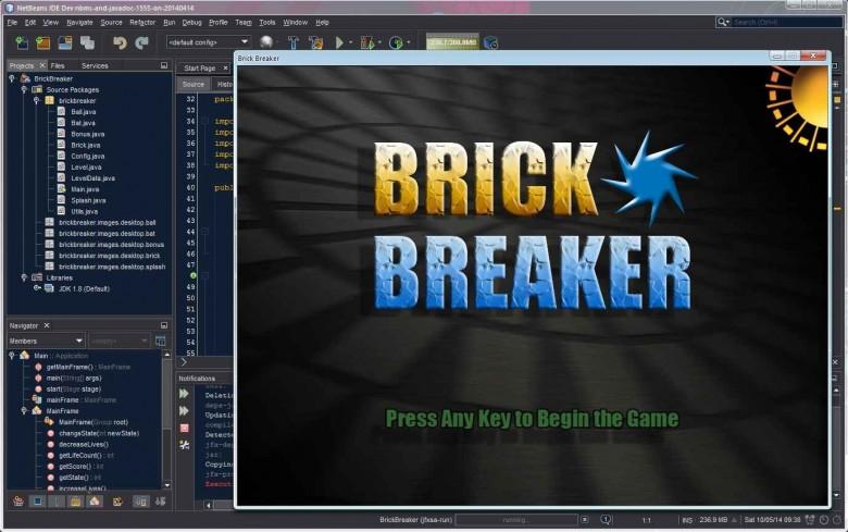 NetBeans running the BrickBreaker project