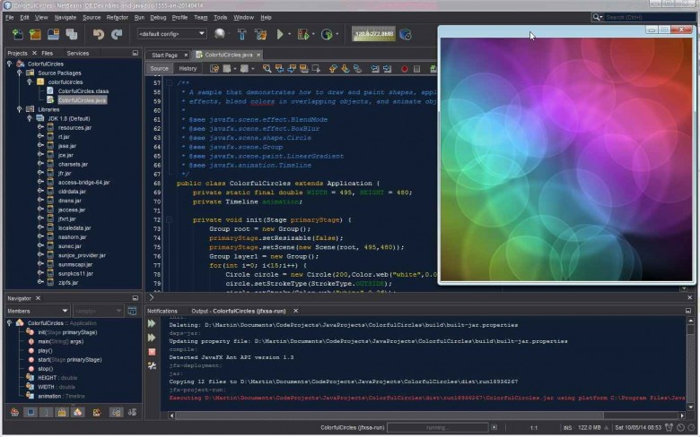 NetBeans running ColorfulCircles.java