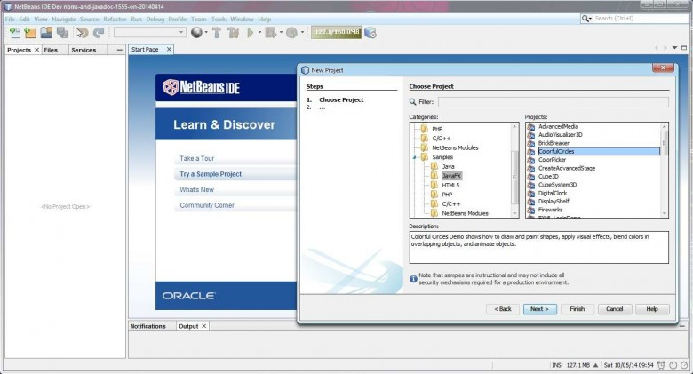 NetBeans Start Page and Sample JavaFX Project Dialog