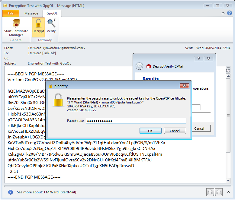 About to decrypt Outlook message with GpgOL.