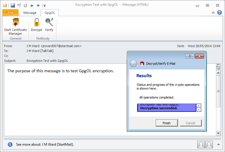 Outlook message immediately after decryption.