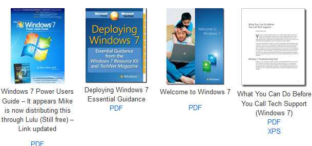 MS free ebooks - windows 7