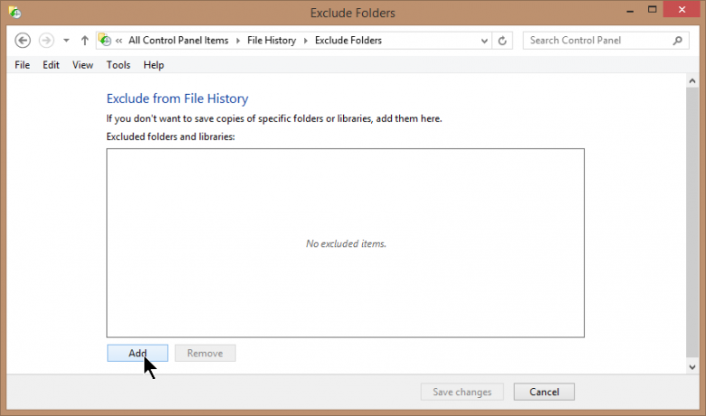 file history - exclusions