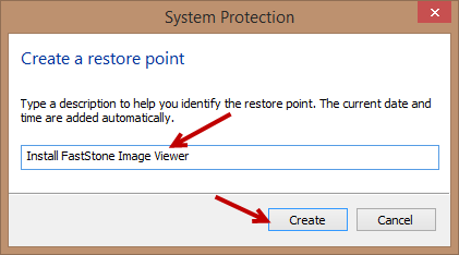 system restore- create