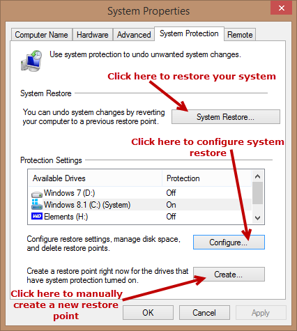 system restore - settings-config