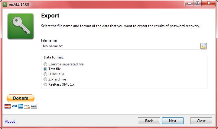 recall - export formats