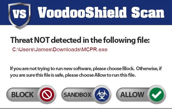 voodooshield-popup message