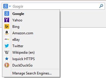 firefox - manage search engines