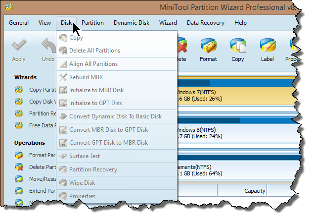 mt partition wizard disk menu