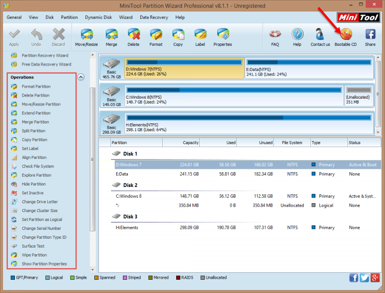 mt partition wizard main interface