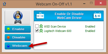 webcam on-off - new gui