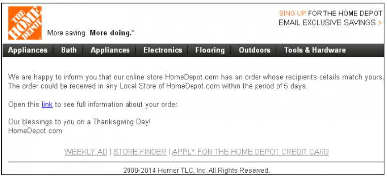 scam email - home depot