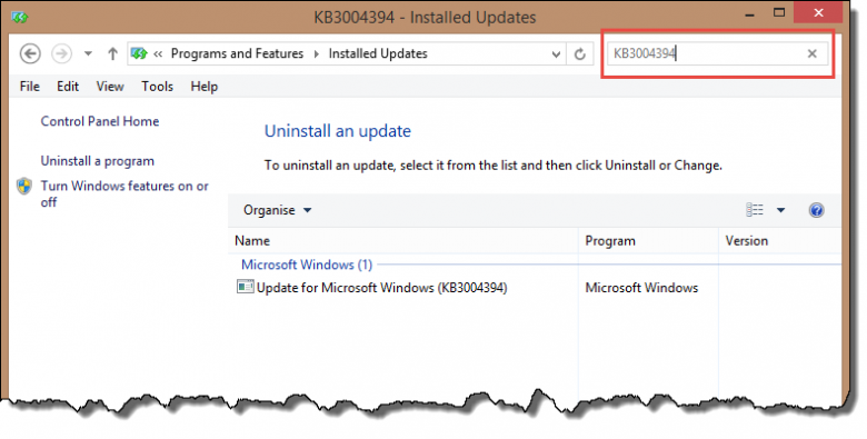 windows updates- search