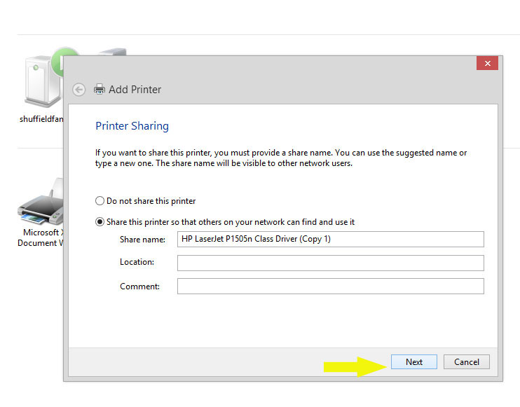 how to connect to a network printer windows 8
