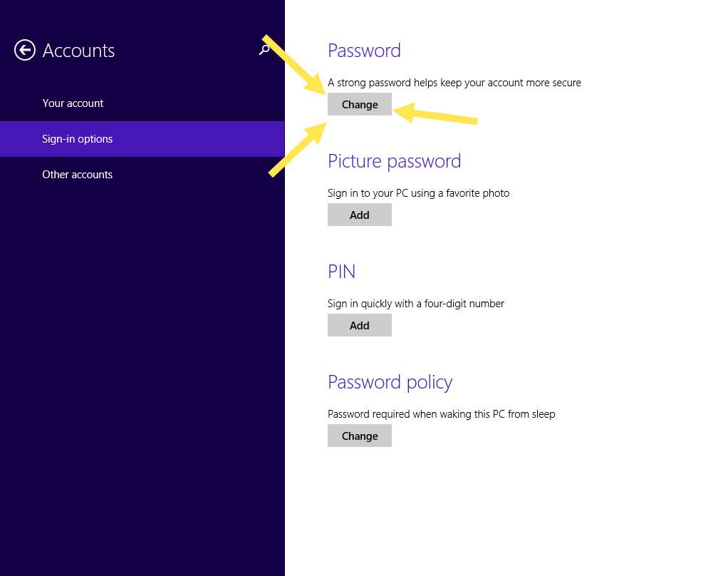 How to change your account password in windows 8.1 -7