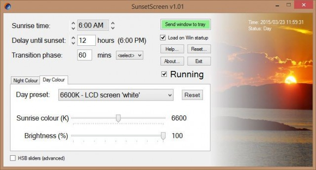 sunsetscreen-interface