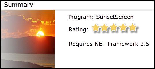 sunsetscreen - summary
