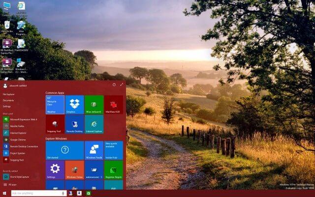 startscreen with desktop