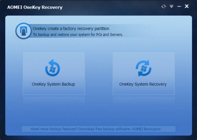 onekey backup - main interface