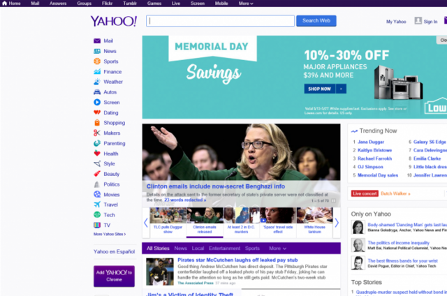 Yahoo Search Engine Home Page