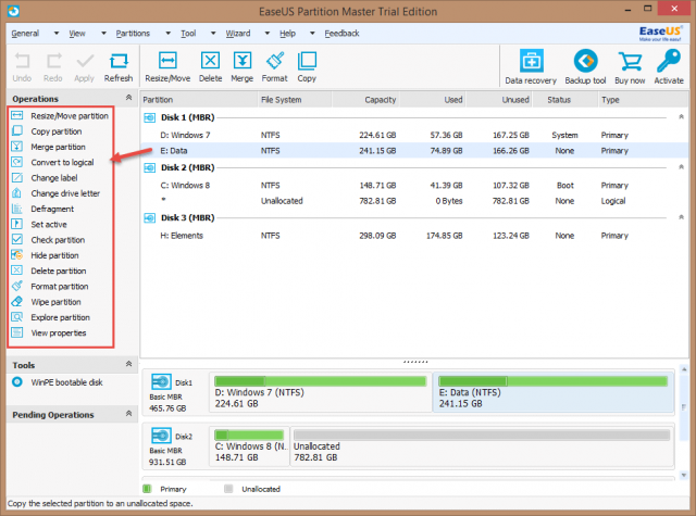 EaseUS Partition Master Pro - Data Partition