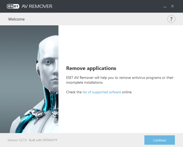 eset av remover - interface