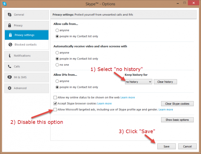 skype - history and ads settings