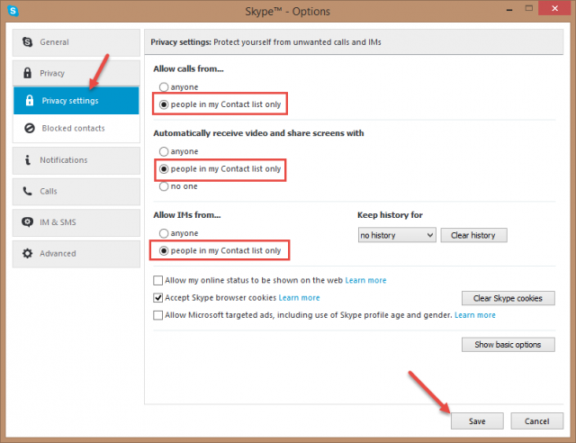 skype - privacy settings 1