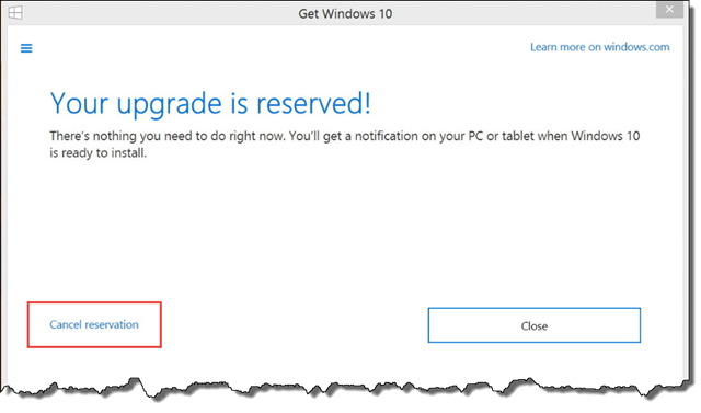 cancel windows 10 reservation