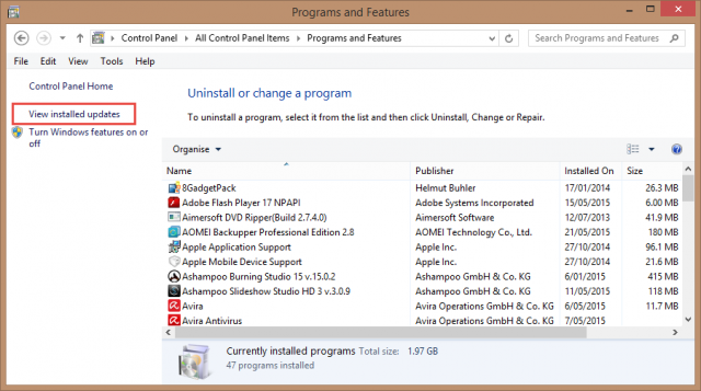 programs and features_view installed updates