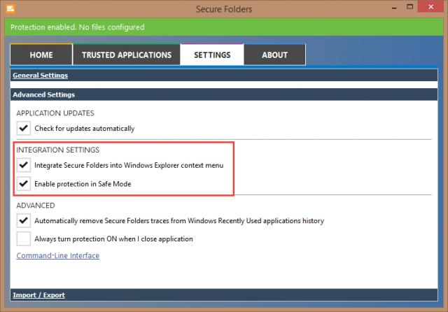 secure folders-advanced settings