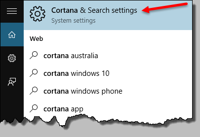 cortana and search