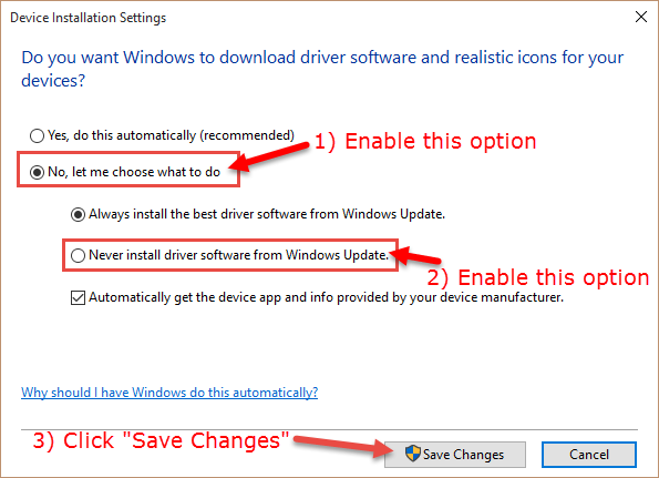 options to prevent driver updates
