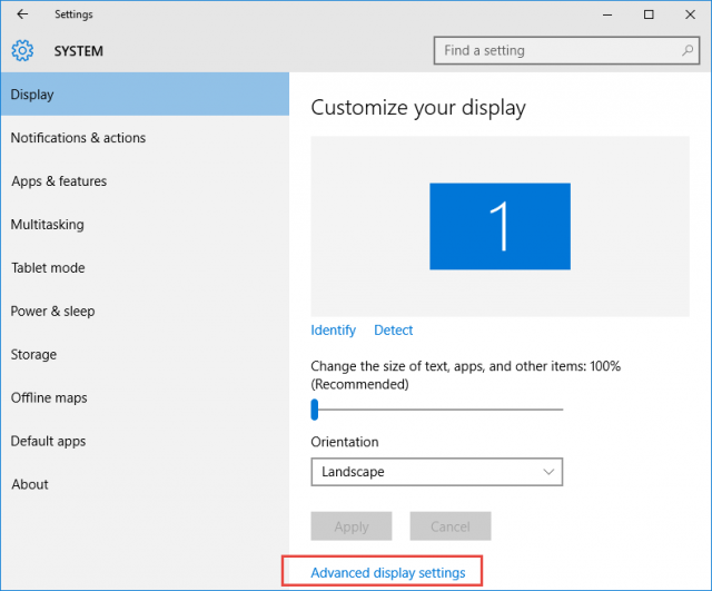 windows 10 - advanced display settings