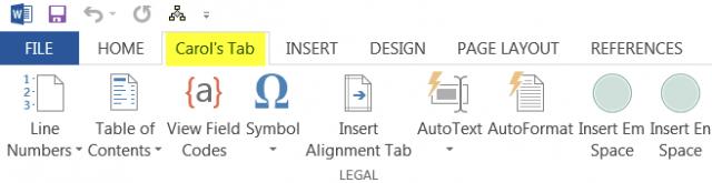 custom excel tab