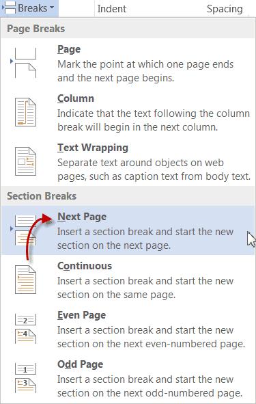 next page setting