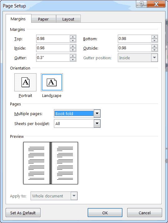 word 2013 page setup