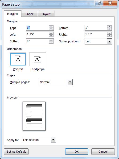word 2010 page setup