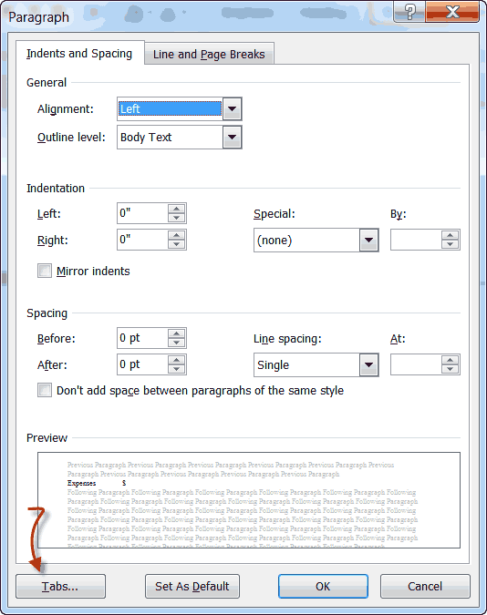 word paragraph settings