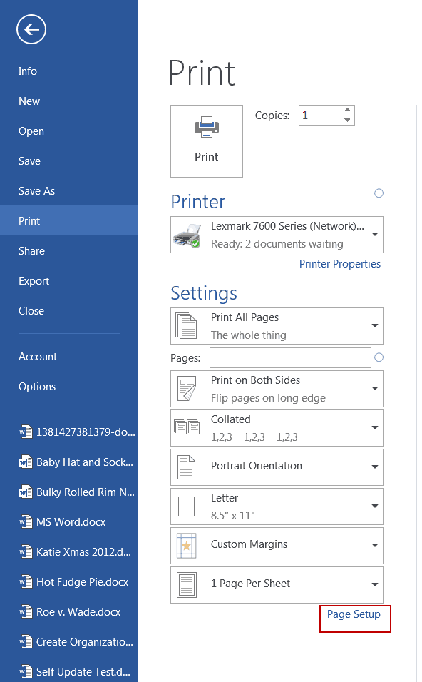 word 2013 printer setup