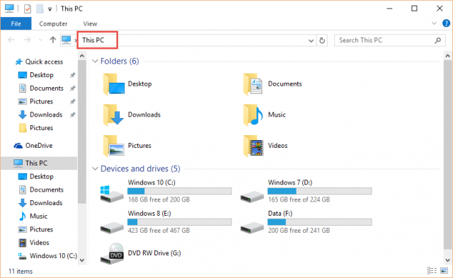 file explorer-This PC