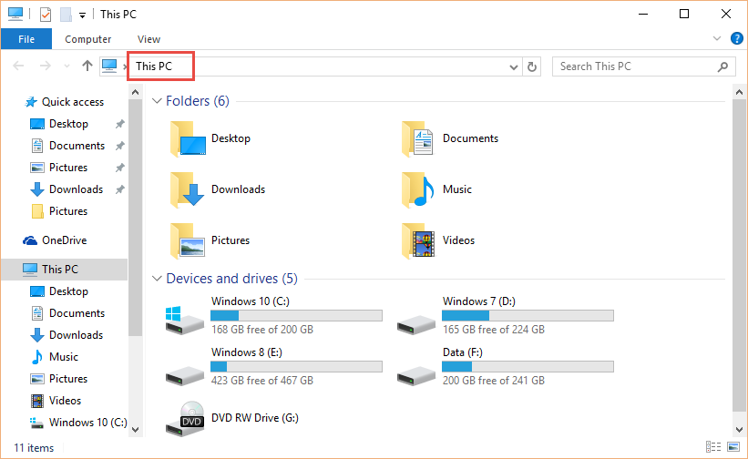 Open File Explorer to 'This PC' rather than 'Quick Access