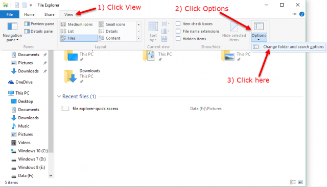 file explorer-change default folder