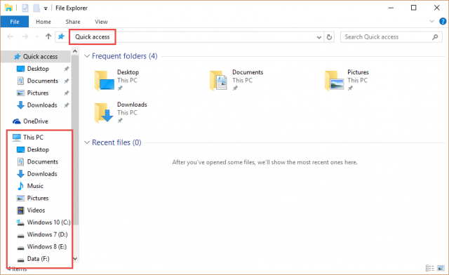 file explorer-quick access