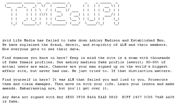 Text message included with the file dump
