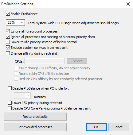 process lasso probalance settings