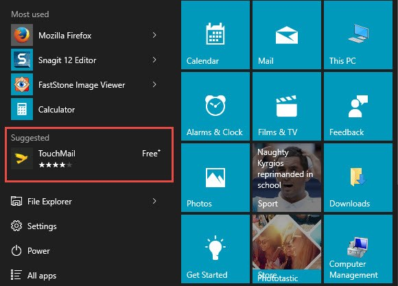 suggestion in start menu