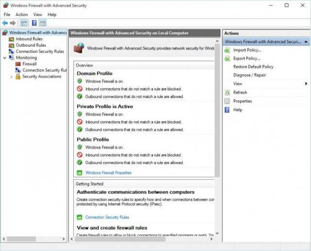 Windows Firewall Screen